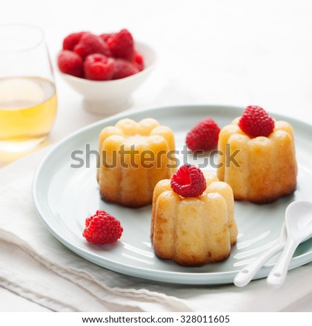French dessert, caneles, rum baba with fresh raspberry and dessert wine on a white background - stock photo