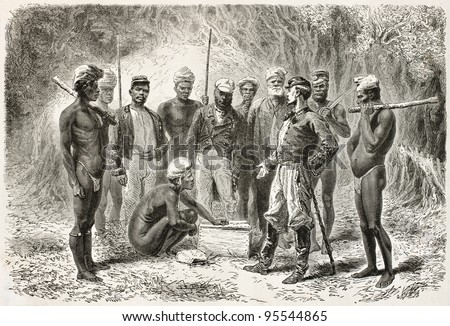 French emissary giving gifts to New Caledonian natives. Created by Neuville after photo of unknown author, published on Le Tour Du Monde, Paris, 1867