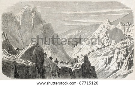 French expedition in Syria on Khan-Mederidj pass, old illustration. Created by Grandsire, published on L'Illustration, Journal Universel, Paris, 1860 - stock photo