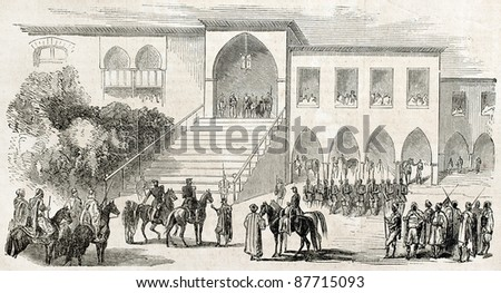 French expedition in Syria received by Fuad Pasha, old illustration. Created by Janet-Lange after Gelis, published on L'Illustration, Journal Universel, Paris, 1860 - stock photo