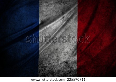 French flag detail. Grunge effect - stock photo
