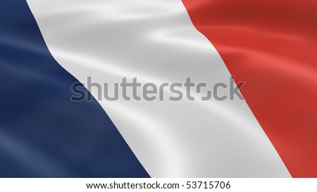 French flag in the wind. Part of a series. - stock photo