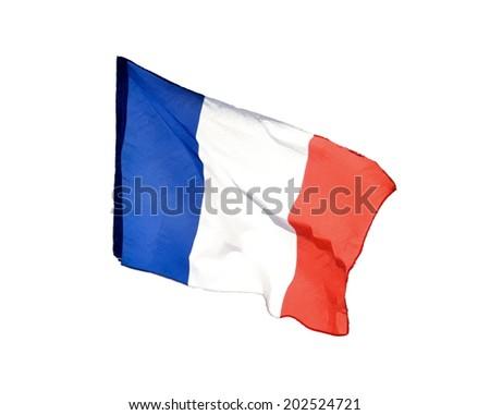 french flag isolated  -  illustration - stock photo