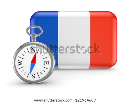 French flag.Isolated on white background.3d rendered. - stock photo