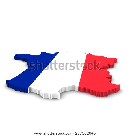 French Flag Map Outline - stock photo