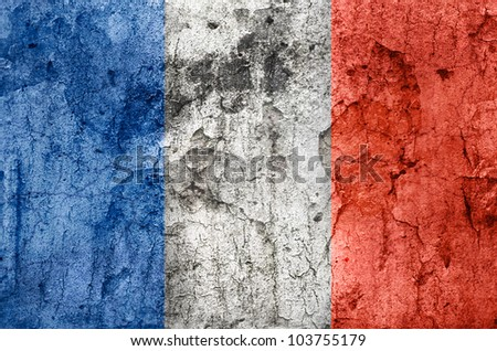 French Flag (Old stone texture) - stock photo