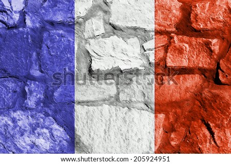 French Flag On A Stone Wall Used As Wallpaper Or Background