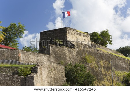 French flag on a top of Fort Saint Louis in Fort-de-France, Martinique