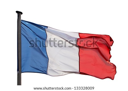 French flag on a white background in the wind - stock photo