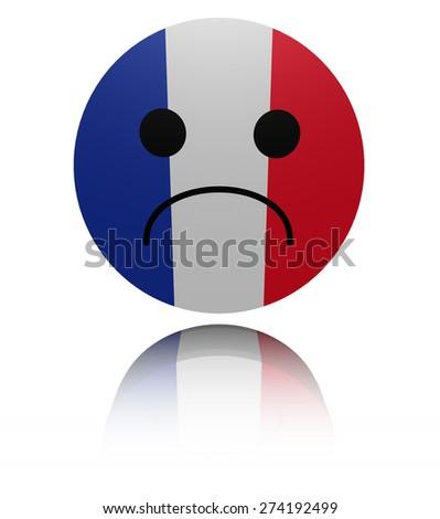 French flag sad icon with reflection illustration - stock photo
