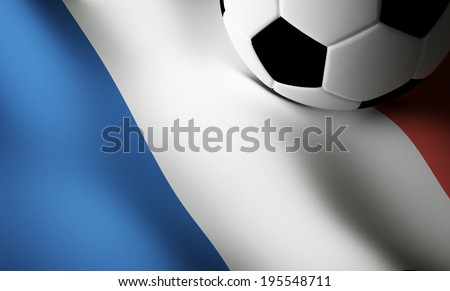 French flag, soccer ball - stock photo