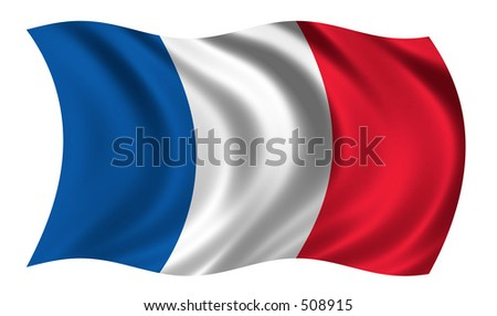 French flag waving in the wind - stock photo