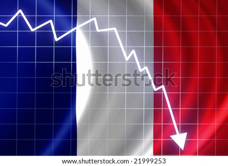French flag waving in the wind: crisis - stock photo