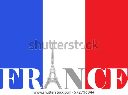 french flag france eiffel tower stock illustration 572736844