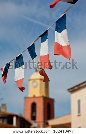 French flags in Saint Tropez, focus on flags - stock photo