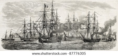 French fleet in China leaving Tche-fou towards Pe-thang under command of vice-admiral Charner. Created by Lebreton, published on L'Illustration, Journal Universel, Paris, 1860 - stock photo