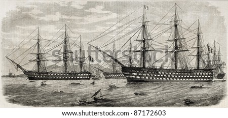 French fleet in front of Naples, Italy. Created by Durand-Branger, published on L'Illustration, Journal Universel, Paris, 1860 - stock photo