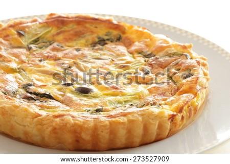 French food, Shimeji mushroom and bacon quiche - stock photo