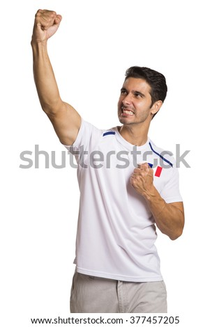 French football fans celebrating in white background.