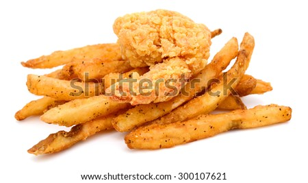 French fries and fried shrimp on white background  - stock photo