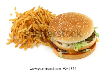 french fries and hamburger against white background - stock photo