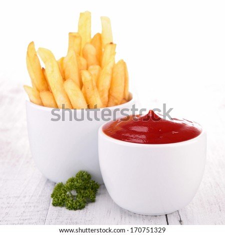 french fries and sauce - stock photo