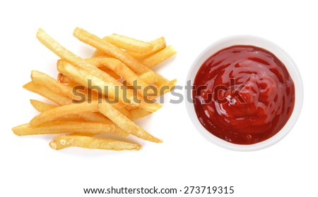 french fries and tomato sauce isolated on white background - stock photo