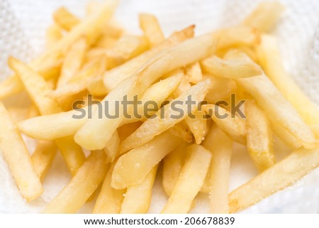 french fries fried potatoes - stock photo
