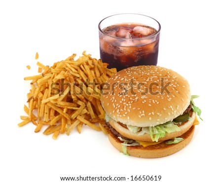french fries, hamburger and cola on white background - stock photo