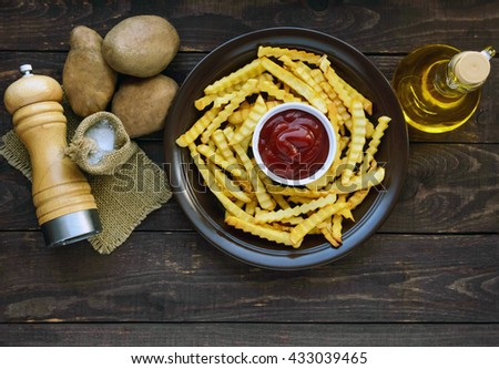 French fries home made, and the sauce. Ingredients for French fries. top view - stock photo
