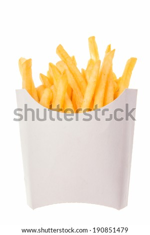 french fries in a paper wrapper on white background; roasted potatoes french fried chips; crispy deep-fried golden potato chips in paper wrapper; french fries in white carton box