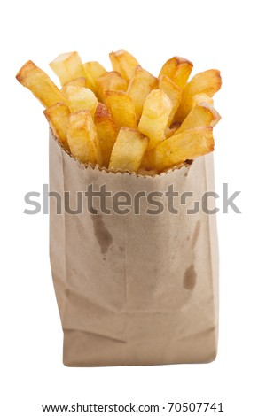 French fries in a small brown paper bag. Isolated on white background with clipping path.  Shallow depth of field. - stock photo