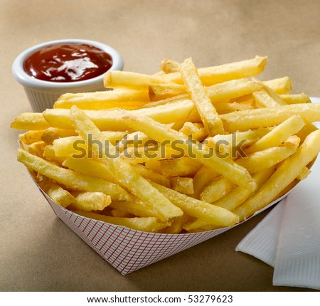 French Fries in Fast Food container - stock photo