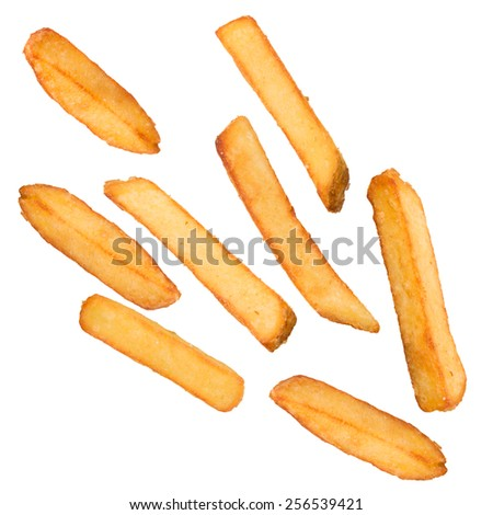 French fries in freeze motion isolated on white - stock photo