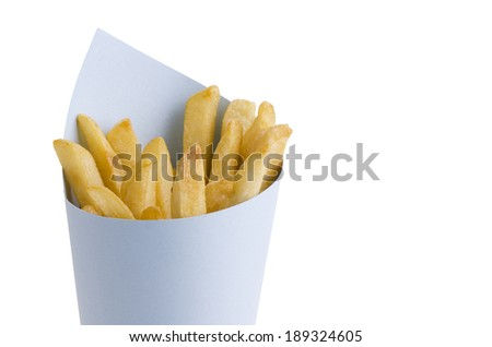 French fries in paper cornet, isolated on white background.