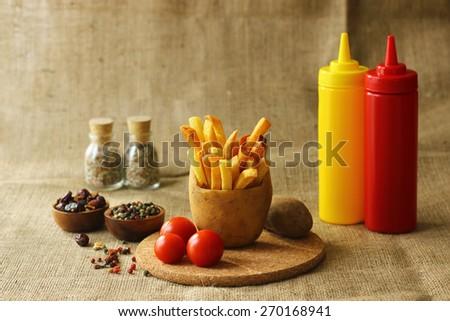 French fries in potato - stock photo