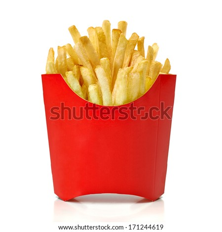 French fries in red fry box on white background - stock photo
