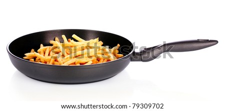 French fries in the pan isolated on white - stock photo