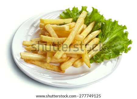French fries in the plate isolated on white - stock photo