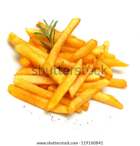 French fries, isolated - stock photo