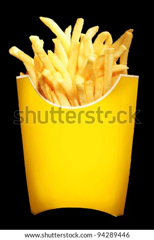 French Fries isolated on black - stock photo