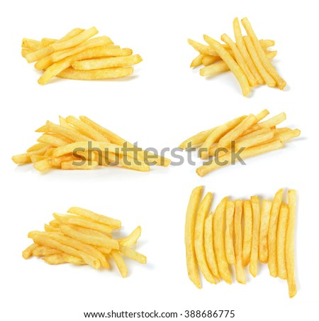 French fries isolated on the white background. - stock photo
