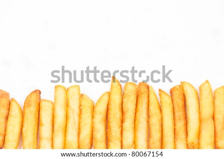 French fries isolated on white background - stock photo