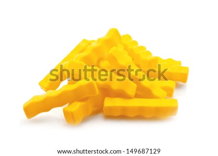 French Fries isolated on white, plastic - stock photo