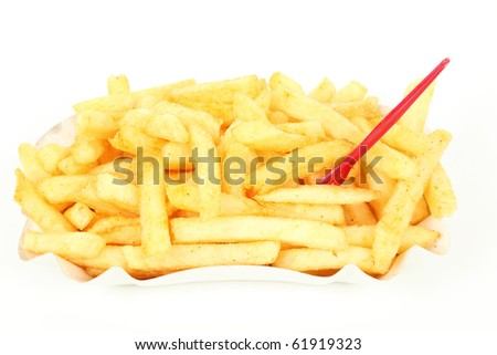 French fries isolated over white background
