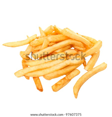 French fries, it is isolated on the white
