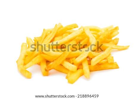French fries on a white backgroun - stock photo