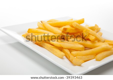french fries on a white plate and white background