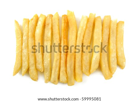 French Fries on White Background - stock photo