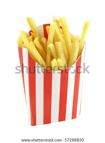 French fries potatoes in red and white stripes box - stock photo